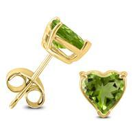 14K Yellow Gold 7MM Heart Peridot Earrings