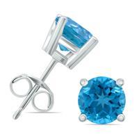 14K White Gold 5MM Round Blue Topaz Earrings