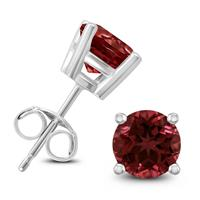 14K White Gold 5MM Round Garnet Earrings