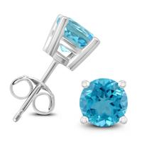 14K White Gold 6MM Round Blue Topaz Earrings
