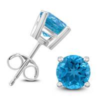 14K White Gold 7MM Round Blue Topaz Earrings