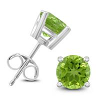 14K White Gold 7MM Round Peridot Earrings