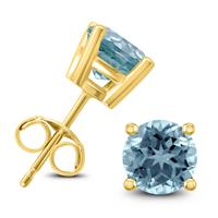 14K Yellow Gold 4MM Round Aquamarine Earrings