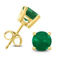 14K Yellow Gold 4MM Round Emerald Earrings