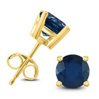 14K Yellow Gold 4MM Round Sapphire Earrings