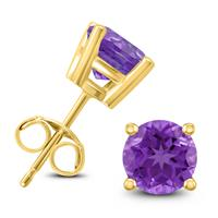 14K Yellow Gold 6MM Round Amethyst Earrings