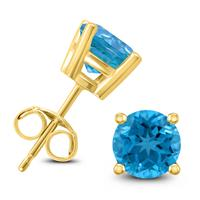 14K Yellow Gold 6MM Round Blue Topaz Earrings