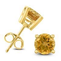 14K Yellow Gold 7MM Round Citrine Earrings