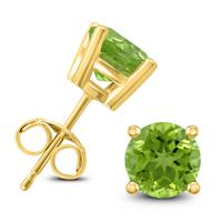 14K Yellow Gold 7MM Round Peridot Earrings