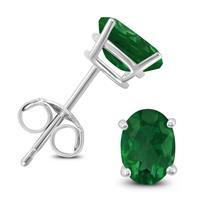 14K White Gold 5x3MM Oval Emerald Earrings