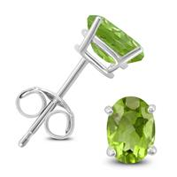 14K White Gold 6x4MM Oval Peridot Earrings