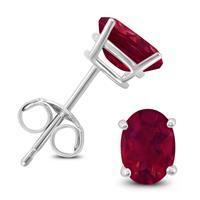 14K White Gold 6x4MM Oval Ruby Earrings