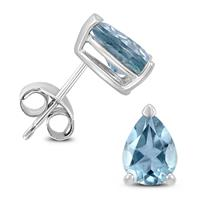 14K White Gold 5x3MM Pear Aquamarine Earrings
