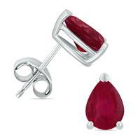 14K White Gold 5x3MM Pear Ruby Earrings