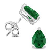 14K White Gold 6x4MM Pear Emerald Earrings