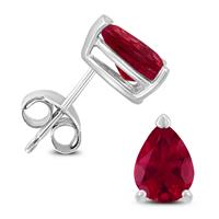 14K White Gold 6x4MM Pear Ruby Earrings
