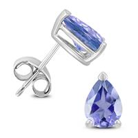 14K White Gold 6x4MM Pear Tanzanite Earrings