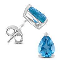 14K White Gold 7x5MM Pear Blue Topaz Earrings