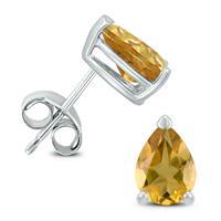 14K White Gold 7x5MM Pear Citrine Earrings