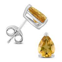 14K White Gold 8x6MM Pear Citrine Earrings
