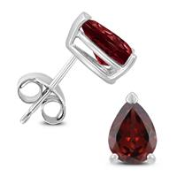 14K White Gold 8x6MM Pear Garnet Earrings