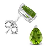 14K White Gold 8x6MM Pear Peridot Earrings