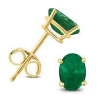 14K Yellow Gold 5x3MM Oval Emerald Earrings