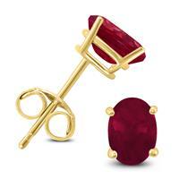 14K Yellow Gold 5x3MM Oval Ruby Earrings