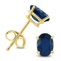 14K Yellow Gold 5x3MM Oval Sapphire Earrings