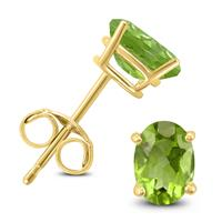 14K Yellow Gold 6x4MM Oval Peridot Earrings