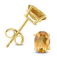 14K Yellow Gold 7x5MM Oval Citrine Earrings
