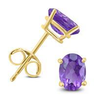 14K Yellow Gold 8x6MM Oval Amethyst Earrings