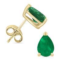 14K Yellow Gold 5x3MM Pear Emerald Earrings