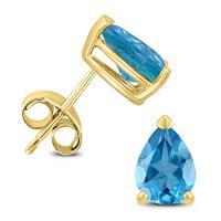 14K Yellow Gold 6x4MM Pear Blue Topaz Earrings