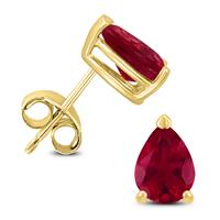 14K Yellow Gold 6x4MM Pear Ruby Earrings