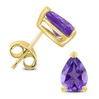 14K Yellow Gold 7x5MM Pear Amethyst Earrings