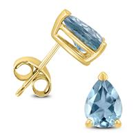 14K Yellow Gold 7x5MM Pear Aquamarine Earrings