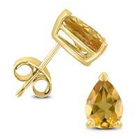 14K Yellow Gold 7x5MM Pear Citrine Earrings