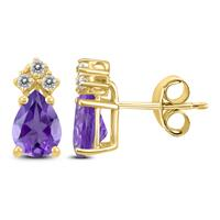 14K Yellow Gold 6x4MM Pear Amethyst and Diamond Earrings