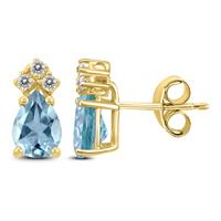 14K Yellow Gold 6x4MM Pear Aquamarine and Diamond Earrings