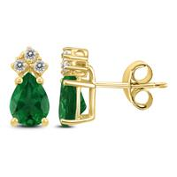 14K Yellow Gold 6x4MM Pear Emerald and Diamond Earrings