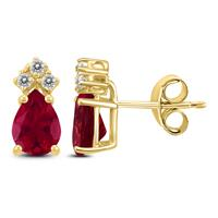 14K Yellow Gold 6x4MM Pear Ruby and Diamond Earrings