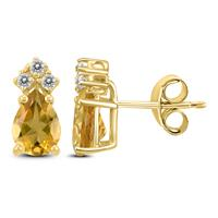 14K Yellow Gold 7x5MM Pear Citrine and Diamond Earrings