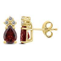 14K Yellow Gold 7x5MM Pear Garnet and Diamond Earrings
