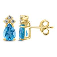 14K Yellow Gold 8x6MM Pear Blue Topaz and Diamond Earrings