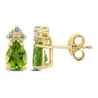 14K Yellow Gold 8x6MM Pear Peridot and Diamond Earrings