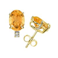 10X8mm Oval Citrine and Diamond Stud Earrings in 14K Yellow Gold