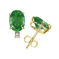 6X4mm Oval Emerald and Diamond Stud Earrings in 14K Yellow Gold