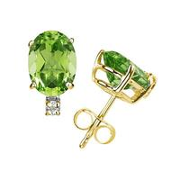 9X7mm Oval Peridot and Diamond Stud Earrings in 14K Yellow Gold