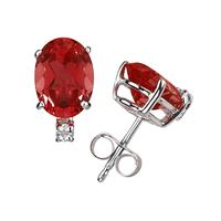 8X6mm Oval Ruby and Diamond Stud Earrings in 14K White Gold
